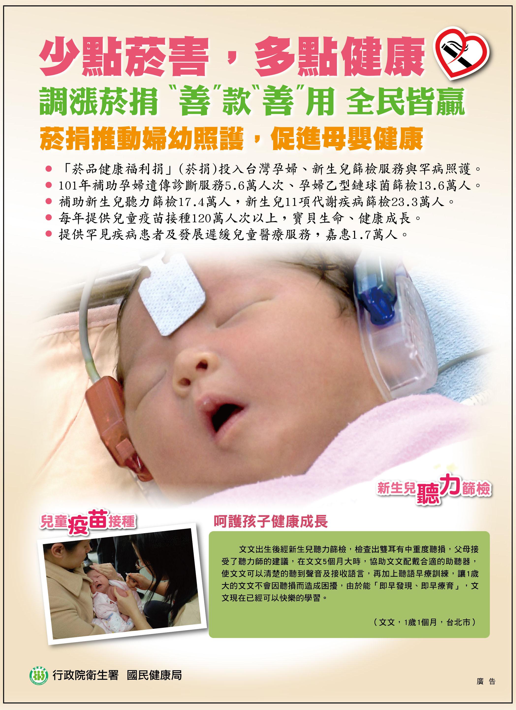 少點菸害,多點健康-菸捐推動婦幼照護,促進母嬰健康