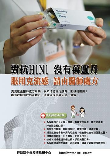 對抗H1N1沒有萬靈丹 服用克流感請由醫師處方