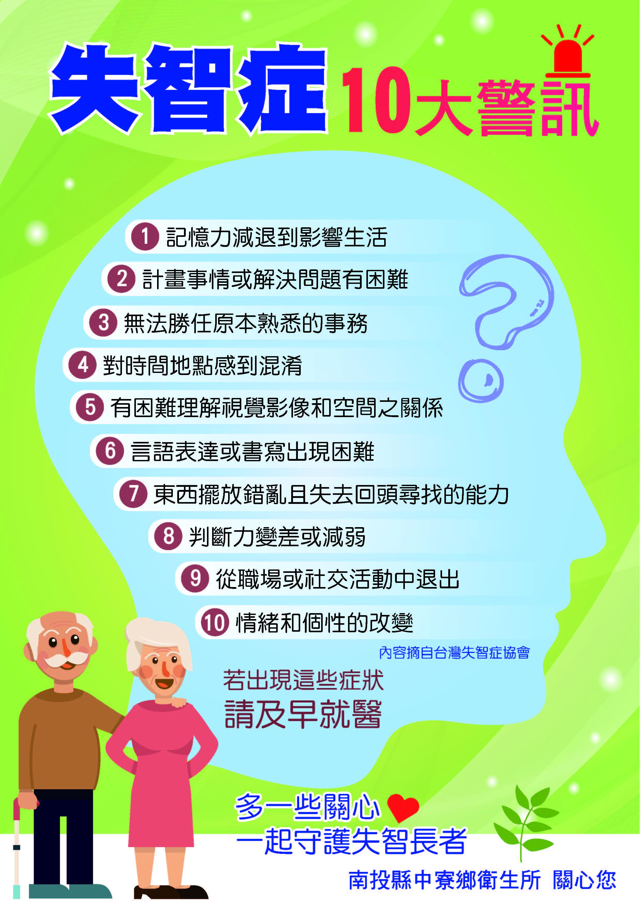失智症10大警訊